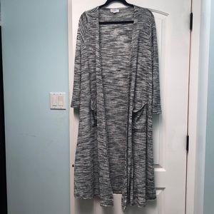 Lularoe gray black Sarah duster cardigan sz M